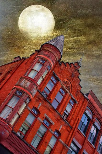 Cortland Ny  ~ Red Jug ~ Night  Moon ~ 31 Central Ave. Historic  Distric