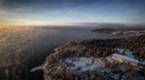 jeløy jeløya moss østfold alby gallerif15 multicopter drone aerialimage aerial aerialphoto landscape panorama sunrise palmquist fog lowsky