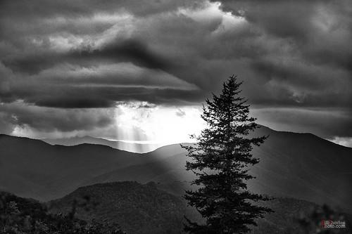 billrhodes asheville nc blackandwhite monochrome landscape sunset mountains trees backlit