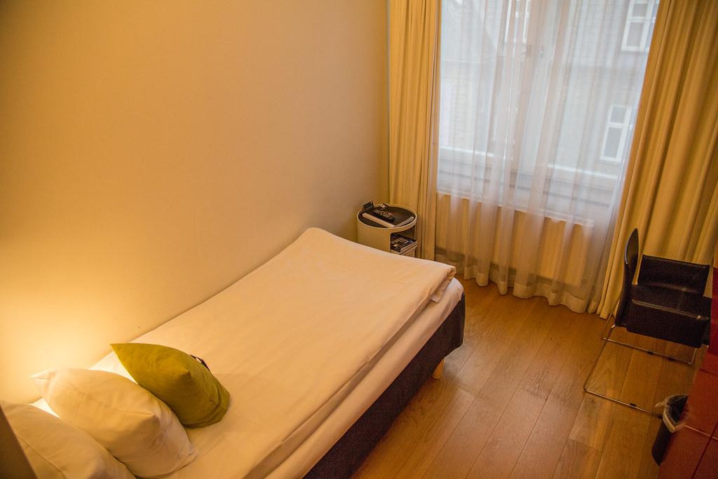 Very small European hotel bed at First Hotel Twentyseven, Copenhagen
