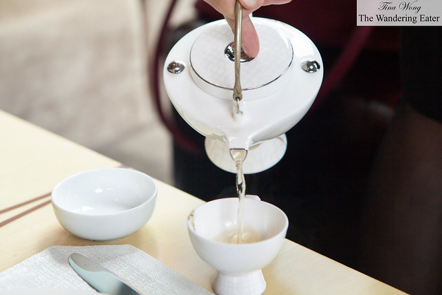 Pouring my brother's Silver Needle tea