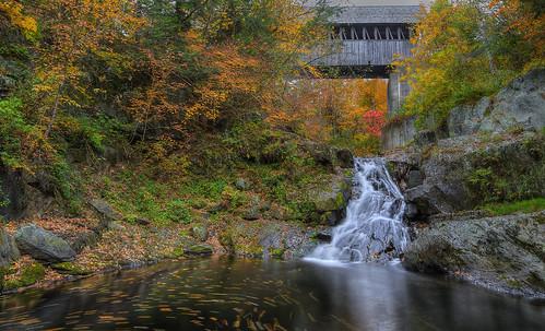 autumn fall newengland newhampshire falls waterfalls coveredbridge hdr canon5dmarkii