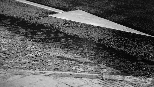 Rain on street in Salamanca / spain