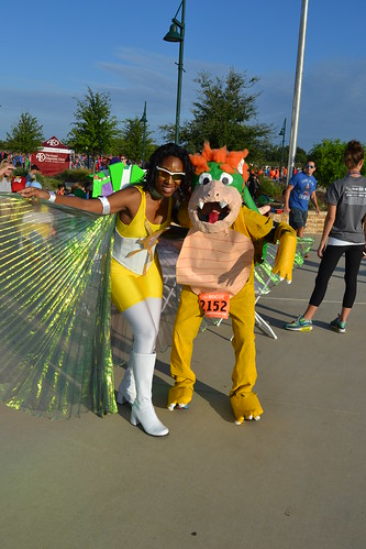 Best Traditional Superhero - Bowser - Steven Olender with Event Emcee SunGirl AKA Sonia Gaillard | by CASA of Travis County