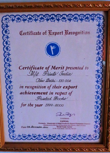 Certificate of Export Recognition (1999-2000) | by printspublications