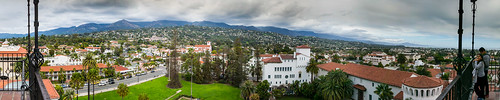 180degrees california nikon nikond5300 people santabarbara santabarbaracountycourthouse santaynezmountains clouds courthouse geotagged grass lawn palmtree palmtrees panorama panoramic sky tourists tower tree trees vacation view