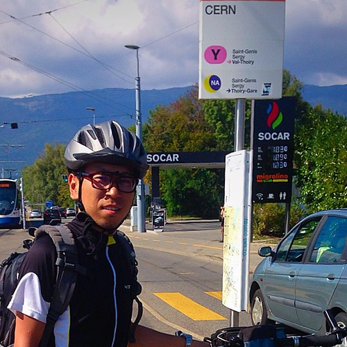 me and my bike arrive at #cern #geneva #switzerland #biketouring #europe | by Nathan Guo