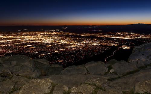 city sunset mountains newmexico night landscape lights cityscape dusk albuquerque crest nm sandia grantcondit