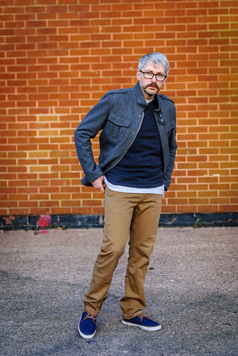 Casual Menswear: V-neck Jumper \ T-shirt \ Chinos \ Grey Jacket \ Canvas Boots \ Silver Londoner, over 40 style   by silverlondoner
