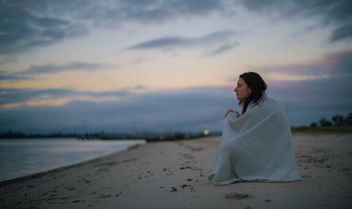sunset portrait beach girl 50mm nikon bokeh perth blanket comfort westernaustralia d800 applecross