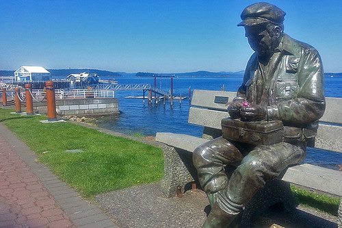 Fisherman Statue, Sidney Waterfront, Greater Victoria, Vancouver Island, British Columbia