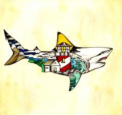 Traditional shark tattoo painting
