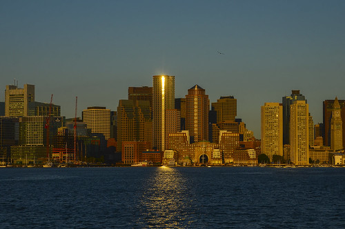 ocean sun boston architecture sunrise buildings reflections harbor rudy bos bostonskyline chiarello bostonharbor oceanfront rudychiarello