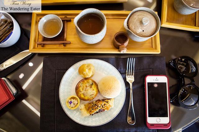 My savory items with my Iron Mercy Goddess Tea (鐵觀音)