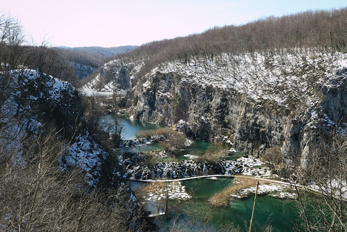 Plitvice lakes from the top with snow | by najuste