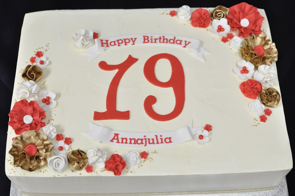 Admirable Red Gold White Birthday Sheet Cake Jenny Wenny Flickr Personalised Birthday Cards Veneteletsinfo