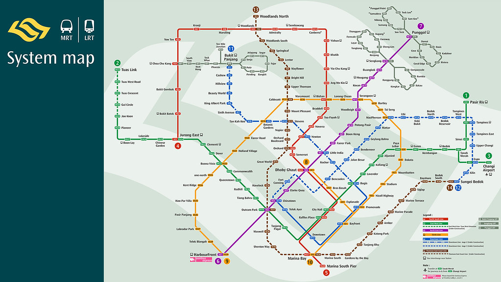 Singapore MRT Train Map