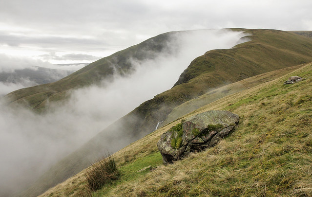 Cautley Crag seen from Hare Shaw, Howgill Fells near Sedbergh, Yorkshire Dales National Park, Cumbria, UK