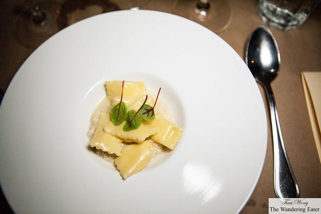Potato and ricotta agnolotti del plin with rabbit ragù by Chefs Ugo Alciatai & Alex Pilas to pair with Imyr di Nato Bianco IGT 2012, Ceraudo, Calabria wine