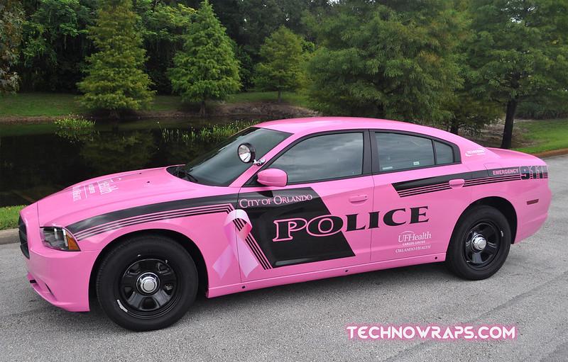Pink Police car wrap