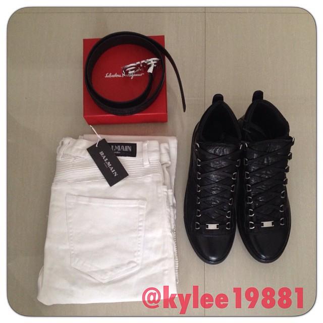 where can i buy best value on sale Balenciaga arena sneaker !! Balmain jeans . Ferragamo belt ...
