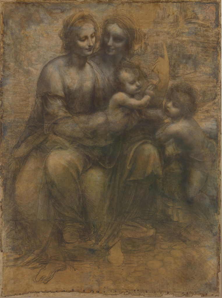 Leonardo da Vinci, The Virgin and Child with Saint Anne and the Infant Saint John the Baptist. c. 1499-1500.