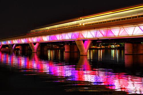 Phoenix Light Rail Night crossing Tempe Town Lake