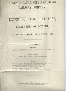 Regent's Canal, City and Docks Railway Directors Report 1889 | by ian.dinmore