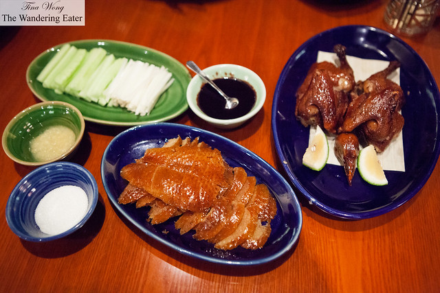 One of our plates of sliced Peking duck and roast squab