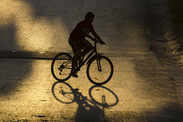 Cycling in the evening