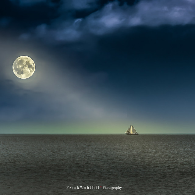 Moonlight on sea