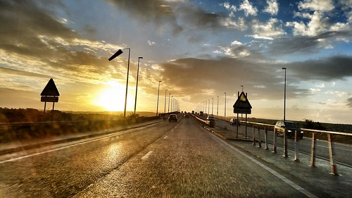 road morning bridge sunrise landscape londonderry northernireland
