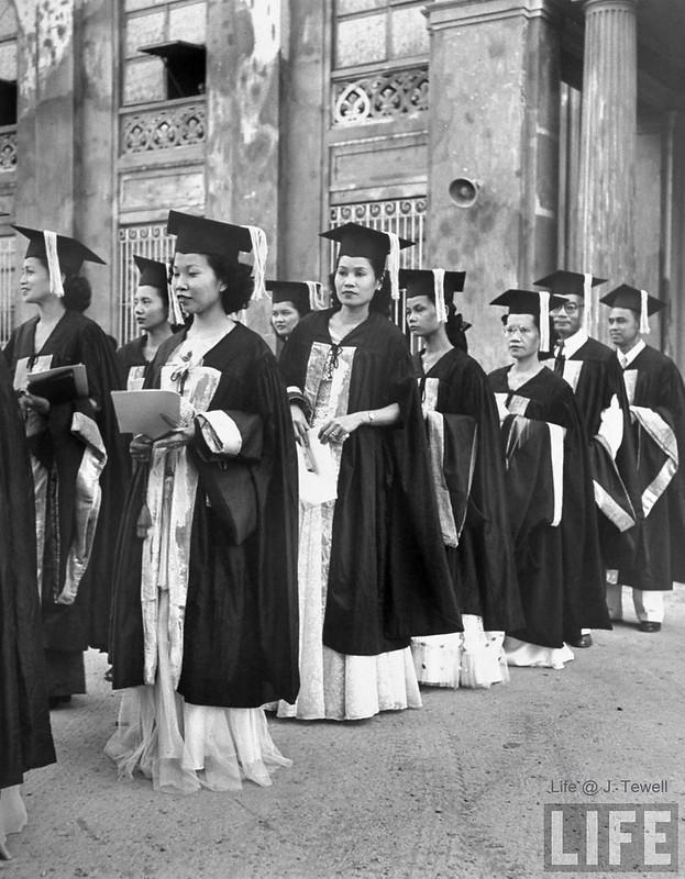 Philippine women graduating from Adamson University, Manila, Philippines, May 1948