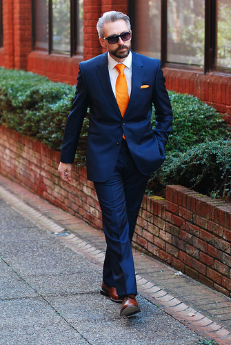 Blue Reiss suit and orange tie - over 40 menswear | by silverlondoner