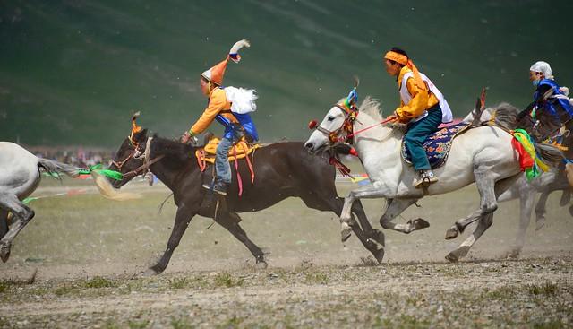 Jyekundo Horse Race, Boys fighting like men, Tibet 2014