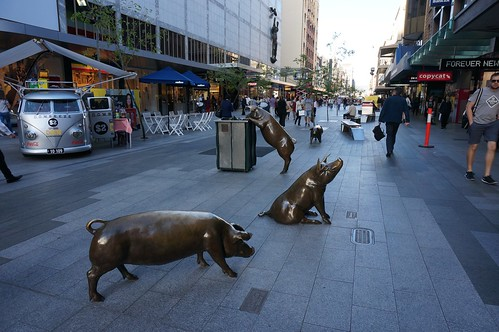 Bronze pigs statures in Rundle Mall, Adelaide | by Le Ciel Azuré