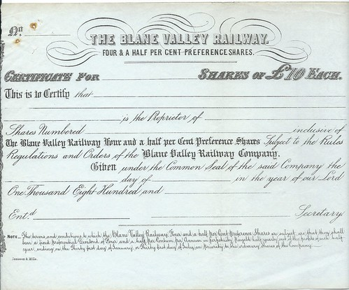 Blane Valley Railway share certificate undated but about 1863 | by ian.dinmore