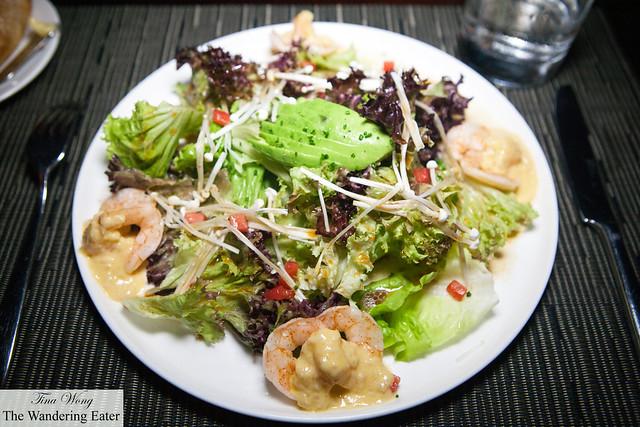 Steamed Shrimp Salad, Tender Greens and Champagne Vinaigrette