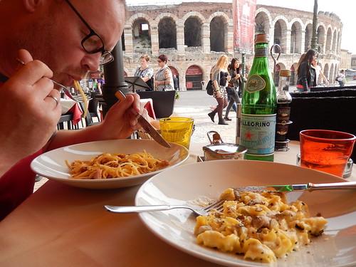 Verona - spaghetti met uizicht op de Arena