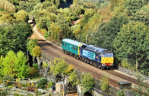 railway 47805 johnscott1254522512 gauxholmeviaduct gauxholme todmorden caldervalley salooncaroline inspectionsaloon class47 directrailservices drs brushtype4 sulzer duff spoon