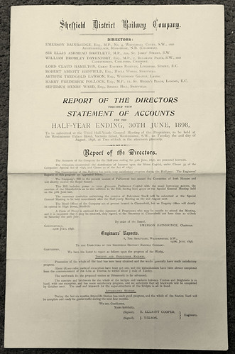 Sheffield District Railway Annual Report 1898 | by ian.dinmore
