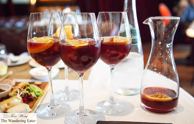 Our glasses and pitcher of sangria