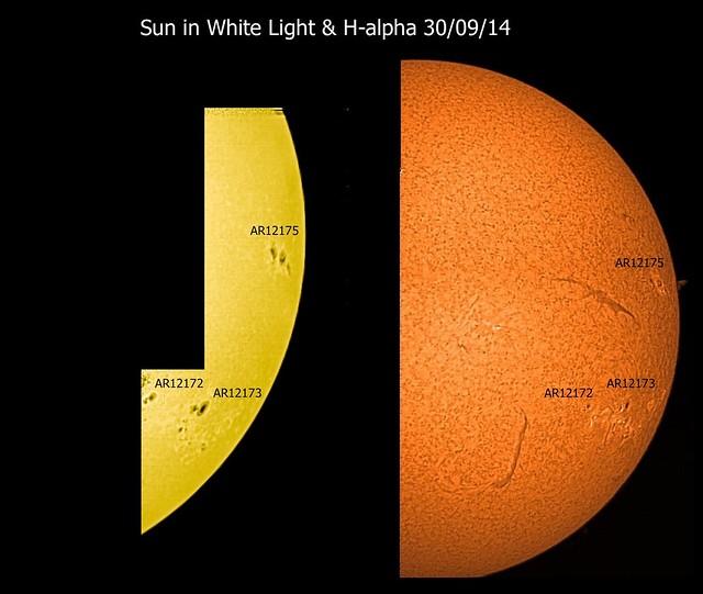 Sun in White Light & H-alpha 30/09/14