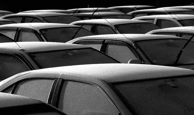 A frosty start in the car yard.