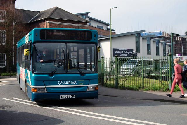 Arriva the Shires Fleet 1594 Swings  Round To Approach  Ware Level Crossing.