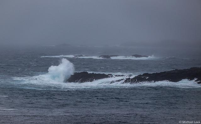 North Atlantic fog and swell; Grunasound, Shetland Islands