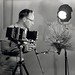 1958. Photographer Wally C. Guy using Linhof Technika camera in the lab. Sellwood Lab. Portland, OR. by USDA Forest Service