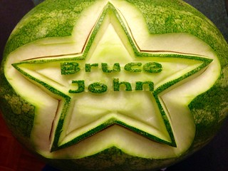 "This is a watermelon carving for Bruce Johns fund raising event all funds with be going to be ""Bruce John Fund"""