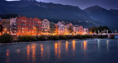 tirol österreich inn fluss innsbruck zeit blauestunde österreich abenddämmerung