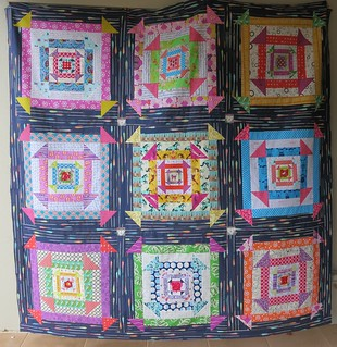 Nested Churn Dash quilt top